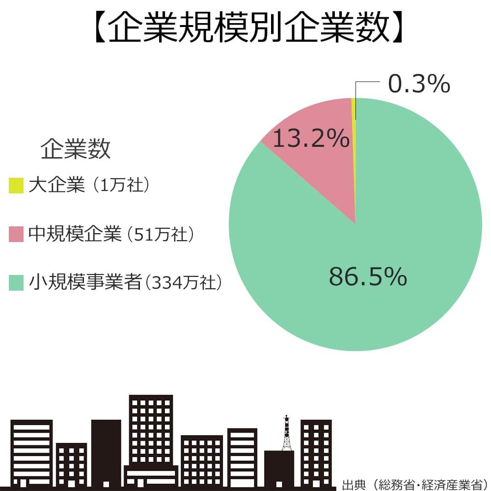 企業規模別の企業数の割合は、大企業が0.3%。中規模企業が13.2%。小規模企業が86.5%。