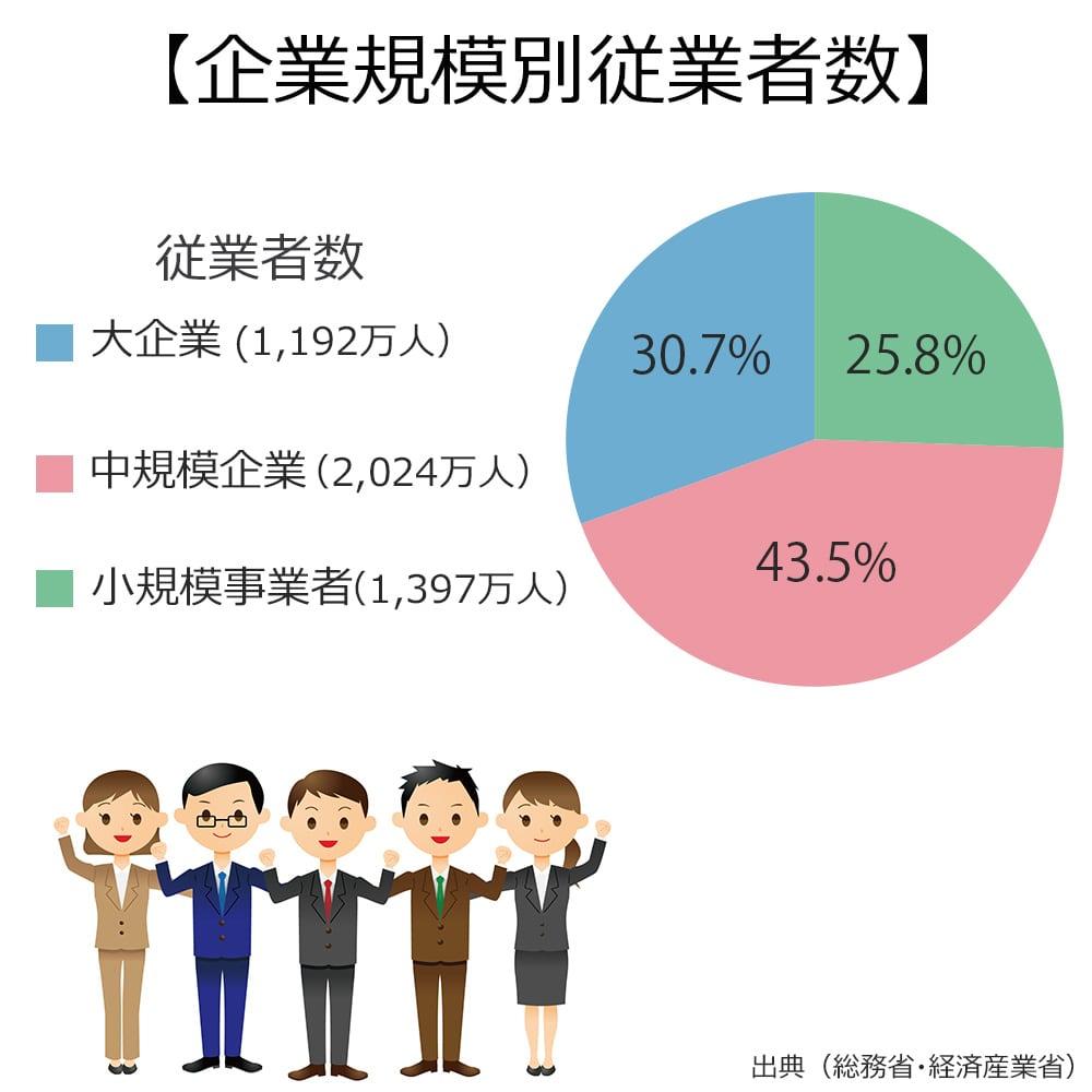 企業規模別の従業員数の割合は、大企業が30.7%。中規模企業が43.5%。小規模企業が25.8%。